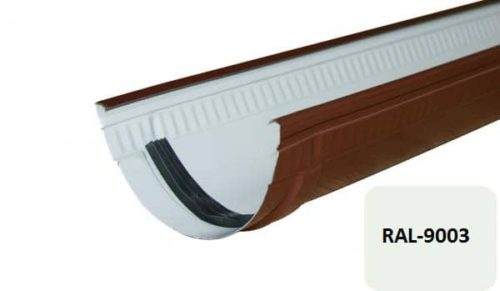Желоб, Стандарт, D 125 мм, L 1 м, белый / 9003