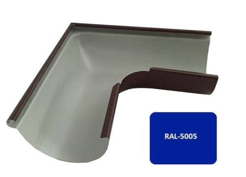 Желоб угловой 90*, Евро, D 125 мм, синий / 5005
