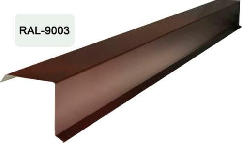 Планка фронтона (торцевая), S 20x80; 80x20, белый / 9003