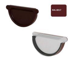 Заглушка желоба с резиновым уплотнителем, D 125 мм, коричневый / 8017
