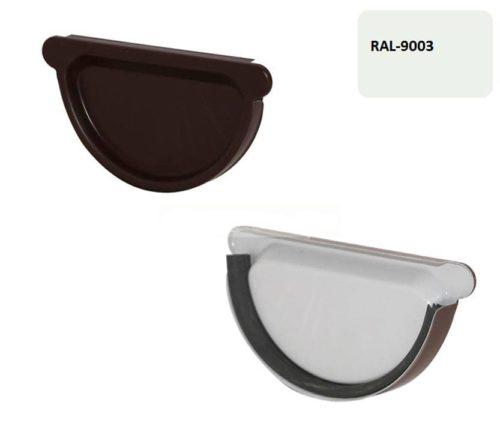 Заглушка желоба с резиновым уплотнителем, D 125 мм, белый / 9003